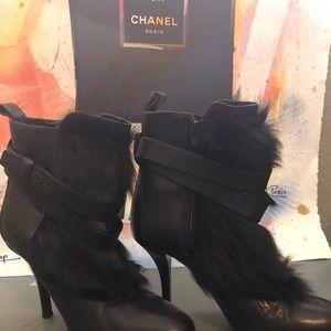Vince High Heel Leather Fur Bootie Black Women 8M